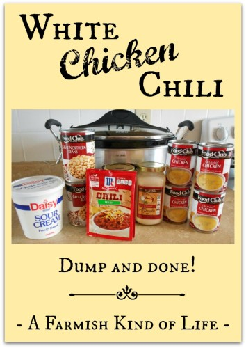 For that time when you need a yummy recipe that you can just dump the ingredients and be done, - White Chicken Chili