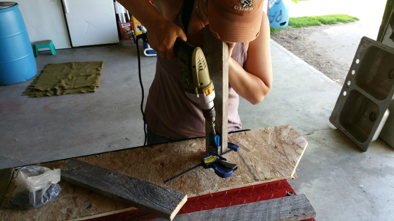 Here I am using a drill and a Kreg jig to make pocket corners for my garden gate.