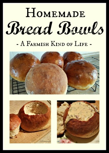 You can make your own homemade bread bowls! Learn how with lots of pictures. :) - Homemade Bread Bowls - A Farmish Kind of Life