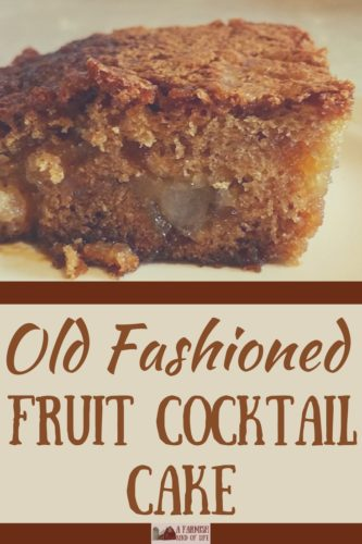 Grandma's recipe for Old Fashioned Fruit Cocktail Cake is ridiculously simple and delicious. The light flavor and slightly caramelized topping is yumtastic.