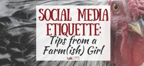 Let's all sit down to a nice chicken dinner and listen as I give some of my best farmish advice about social media etiquette.