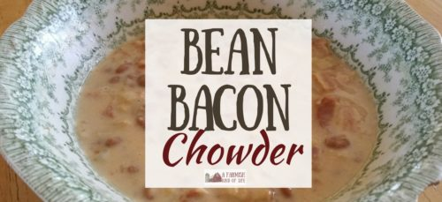 Bean Bacon Chowder is a favorite soup from my childhood. A yummy combination of baked beans and bacon in a creamy broth. Definitely a recipe worth keeping!