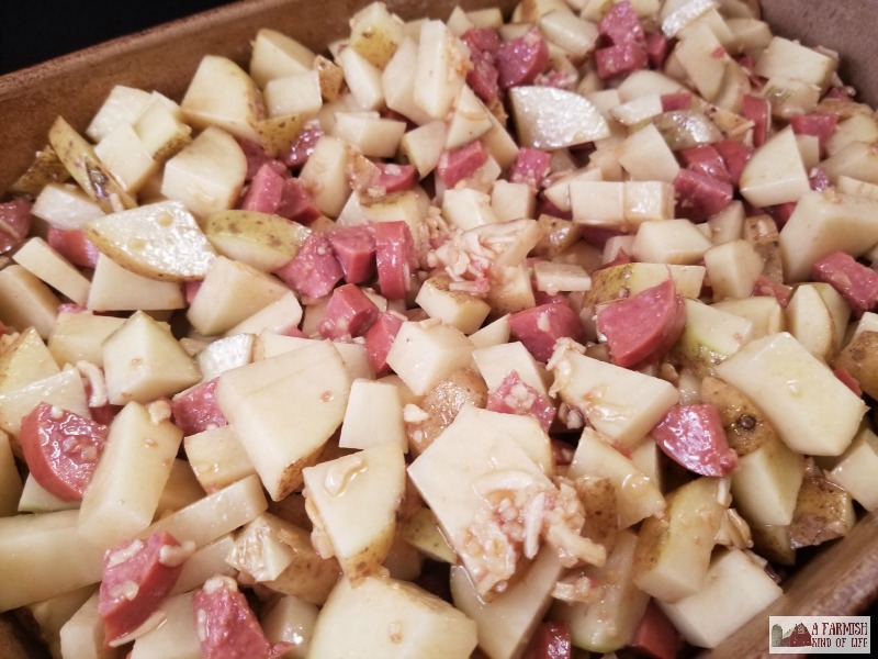 Cider Roasted Kielbasa and Potatoes is the perfect meal when it's cold and you need something yummy -- and simple -- to fill up your belly.