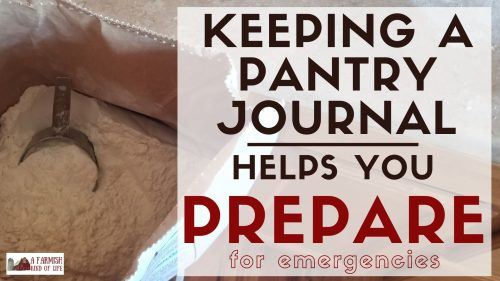 Keeping a pantry journal helps determine your usage of certain items, which helps you plan what you need to store for possible shortages.