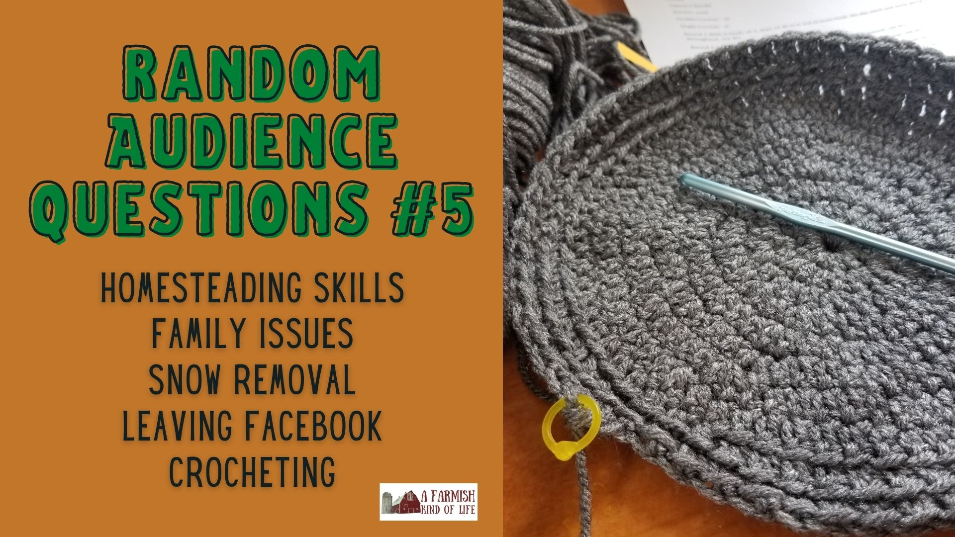108: RAQ #5 – homesteading skills, family issues, snow removal, leaving Facebook, and crocheting
