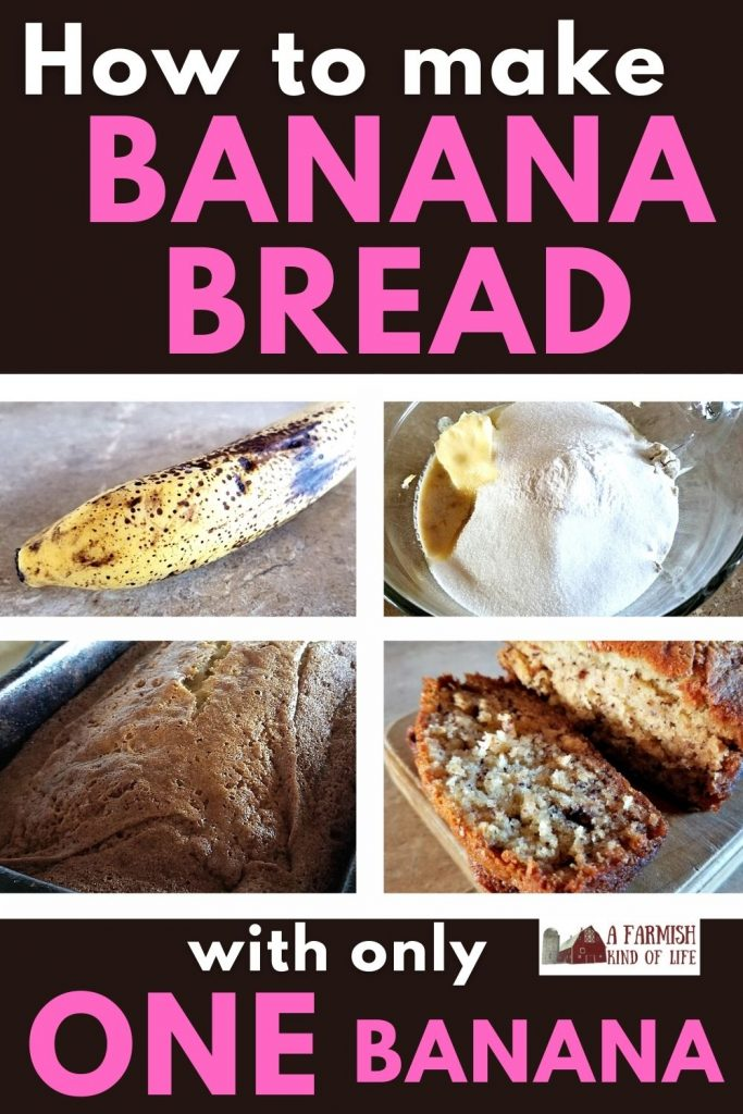 A grid of four photos showing the steps to make one banana banana bread.