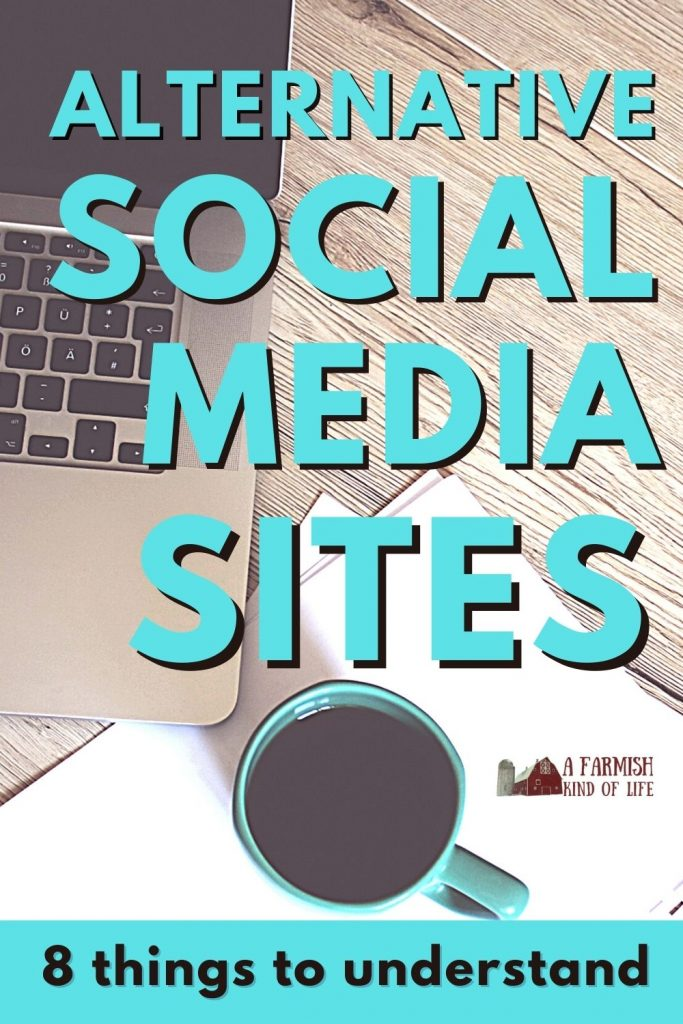"""Laptop and coffee cup on desk with the words """"Alternative Social Media Sites: 8 Things to Understand"""" written across it."""